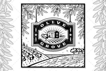 Retro Olive Grove Black And White