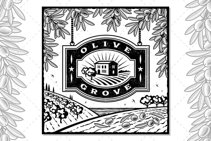 Thumbnail for Retro Olive Grove Black And White