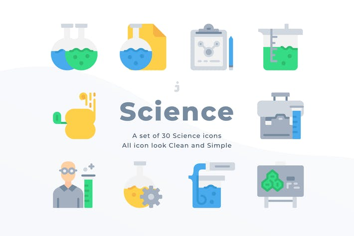 Thumbnail for 30 Scientific study icons - Flat