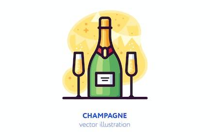 Champagner Illustration