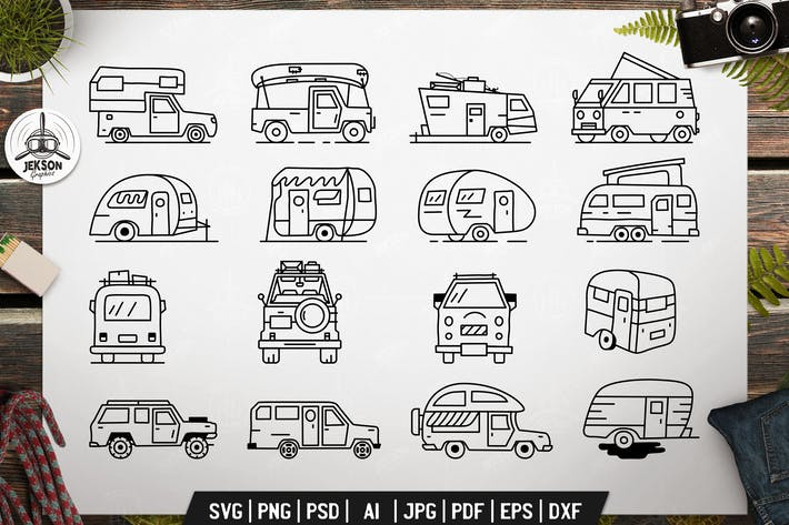 Thumbnail for Vintage Camp Trailers Icons Bundle. Vector Graphic