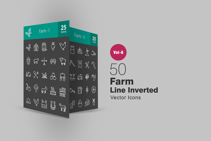 Thumbnail for 50 Farm Line Inverted Icons