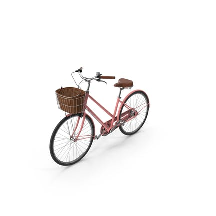 Bicicleta Rosa Con Cesta