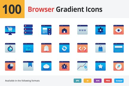 Browser Gradient Vector Icons