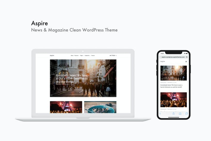 Thumbnail for Aspire - Nachrichten & Magazine Saubere WordPress Thema
