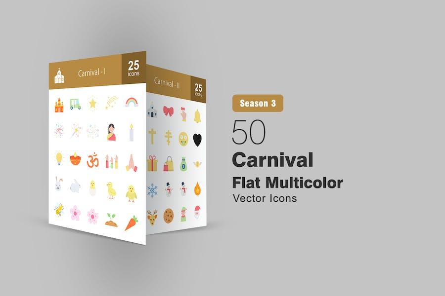 50 Karneval Flach Multicolor Icons