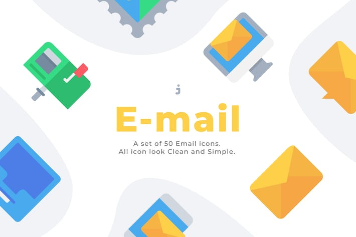 Cover Image For 50 Email and Message icons - Flat