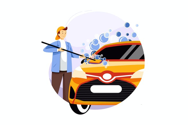 Thumbnail for Young man washing his car on the car wash service