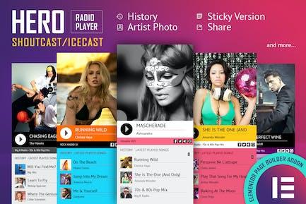 Hero - Shoutcast Icecast Radio Player - Elementor
