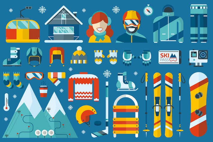 Thumbnail for Winter Sports Flat Icons