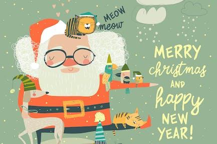 Санта Клаус с милыми кошками и собаками. Вектор иллюзорность