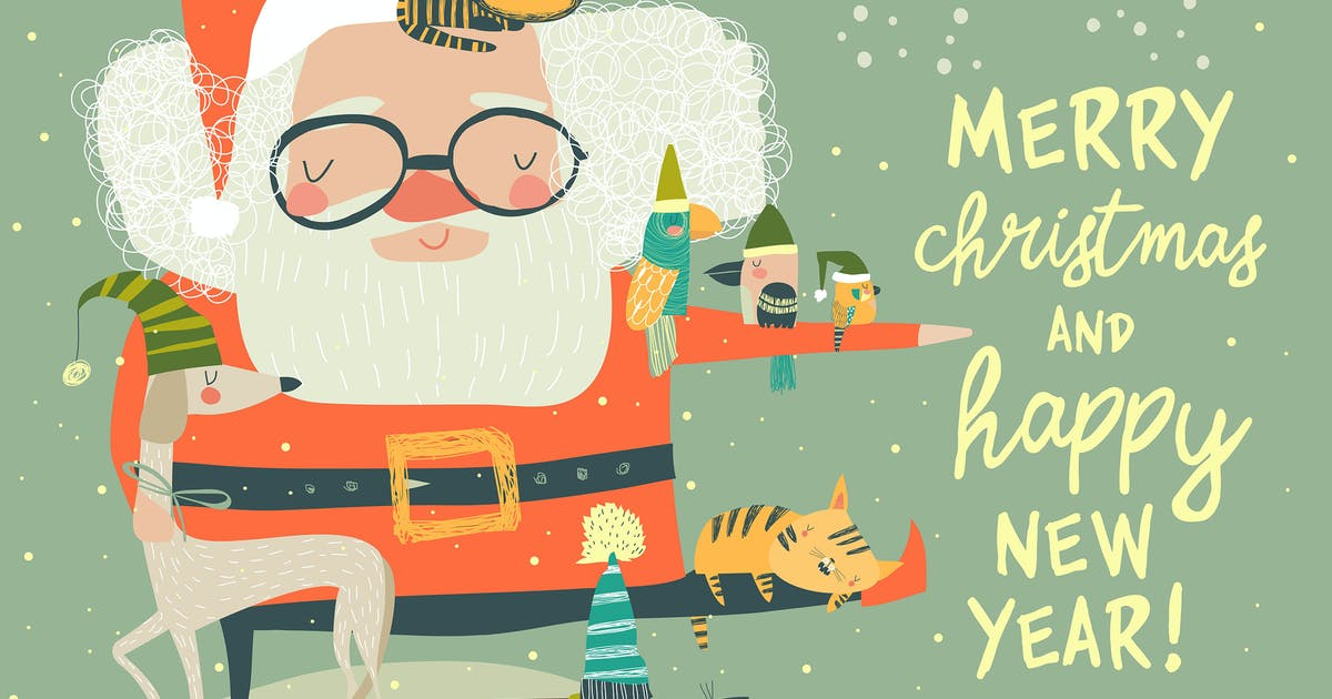 Download Santa Claus with cute cats and dogs. Vector illust by masastarus