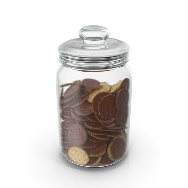 Jar with Chocolate Covered Circular Crackers