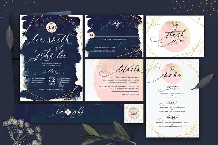 Cover Image For Glitter Wedding Invitation Set