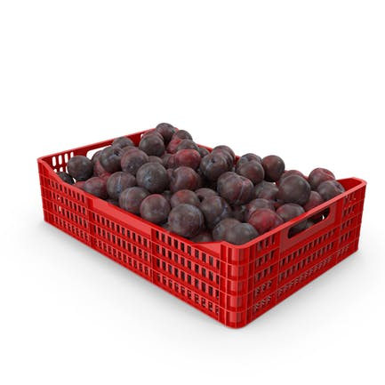 Plastic Crate of Plums