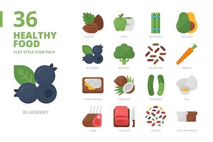 Juego de iconos de estilo plano de alimentos saludables