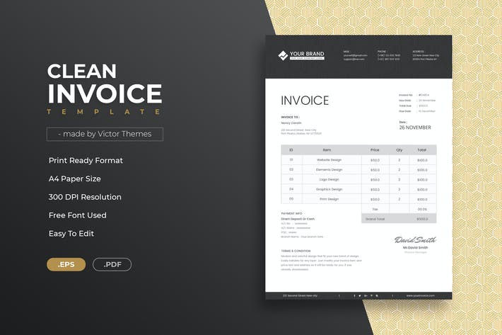 Thumbnail for Clean Invoice Template