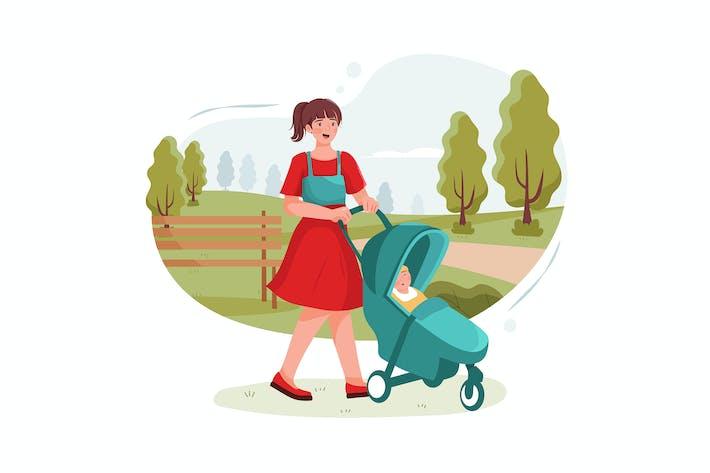 Thumbnail for Подростковая няня с милым ребенком играет в парке