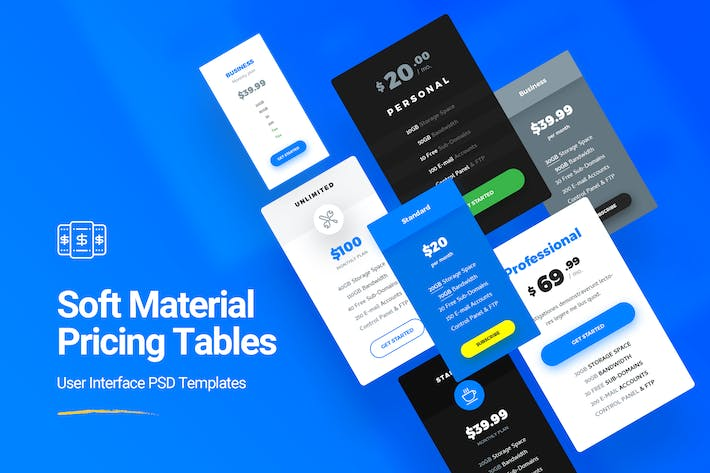 Thumbnail for Soft Material Pricing Table PSD Templates