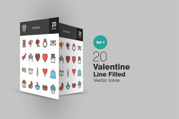 Thumbnail for 20 Valentine Line Filled Icons