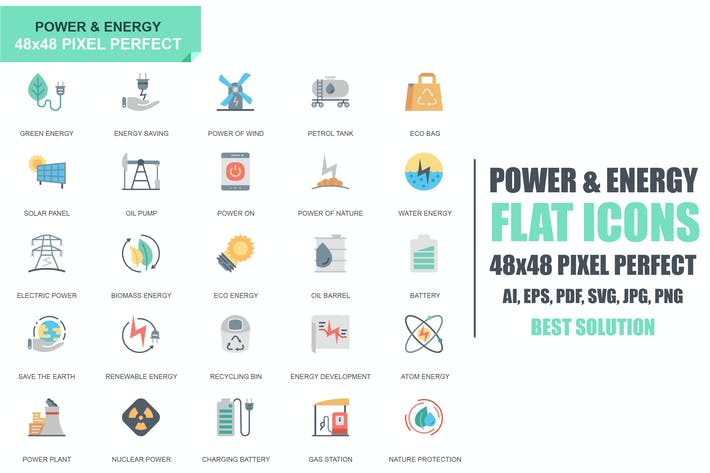 Thumbnail for Simple Set Power Industry and Energy Flat Icons