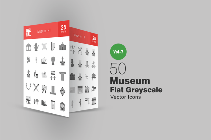 Thumbnail for 50 Museum Flat Greyscale Icons