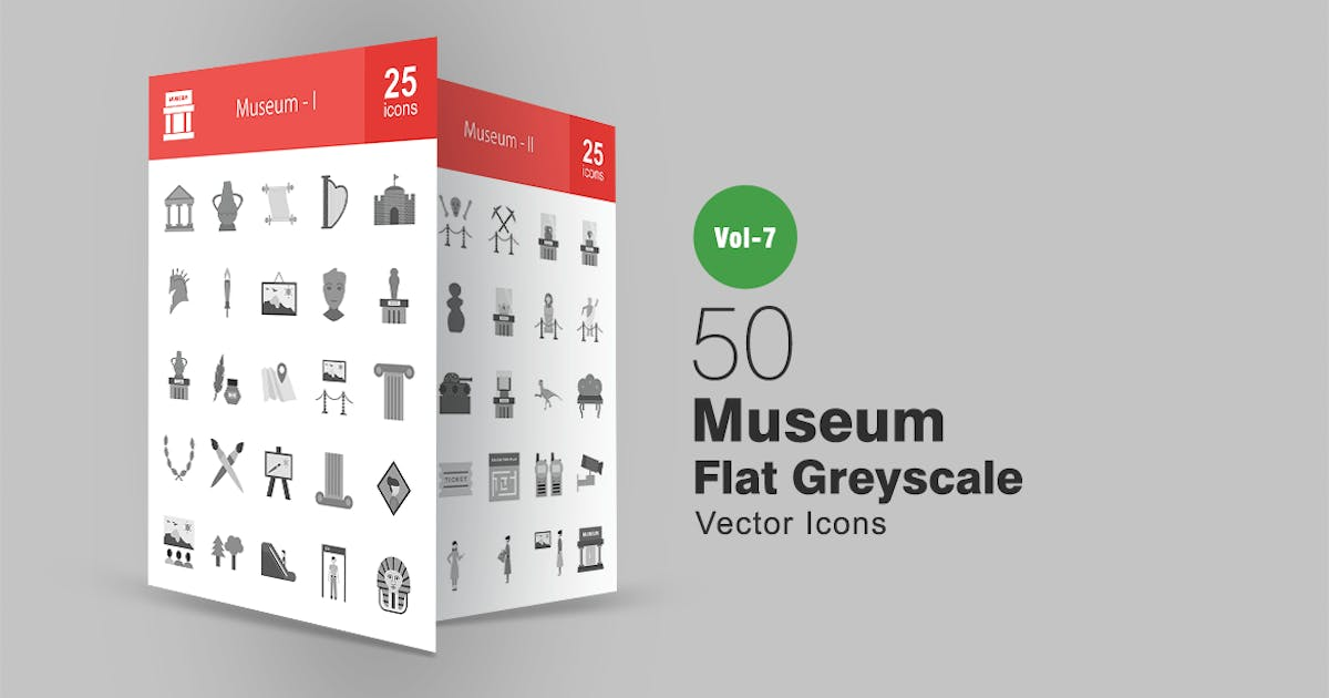 50 Museum Flat Greyscale Icons by IconBunny