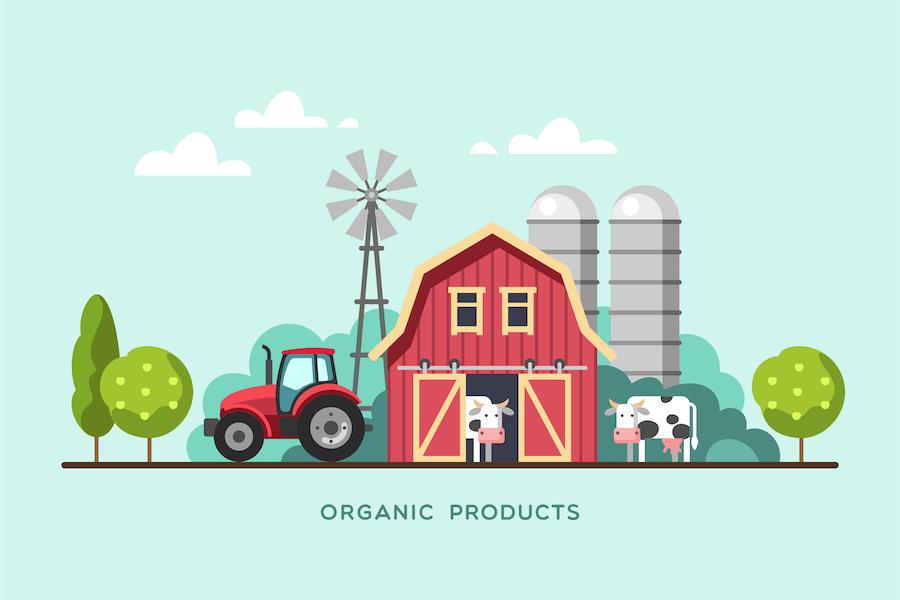 Bio-Produkte vom Bauernhof