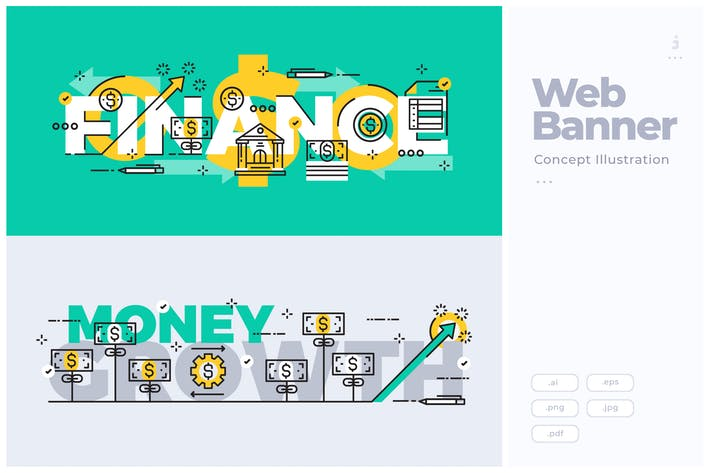 Cover Image For Flat Line Banner Concept of Bank and Finance