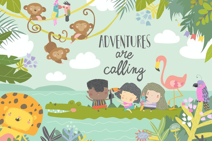 Thumbnail for Cute cartoon kids traveling with animals. Adventu