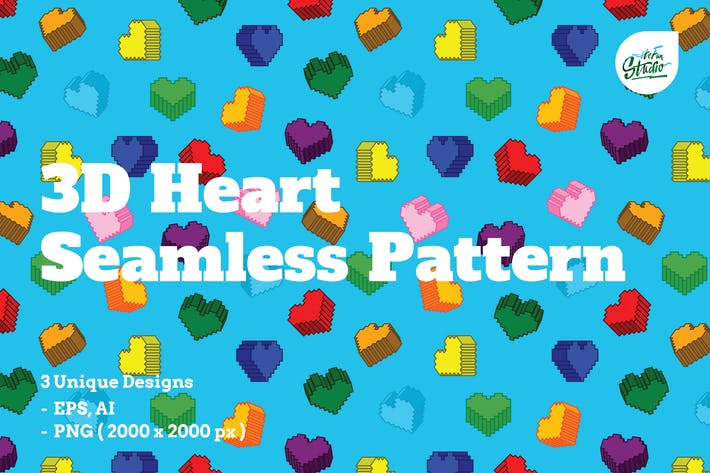 Cover Image For 3D Heart Seamless Patterns