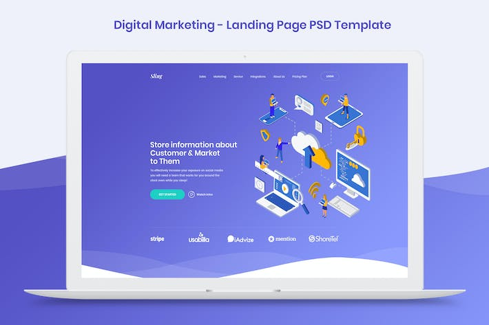 Thumbnail for Digital Marketing - Landing Page PSD Template