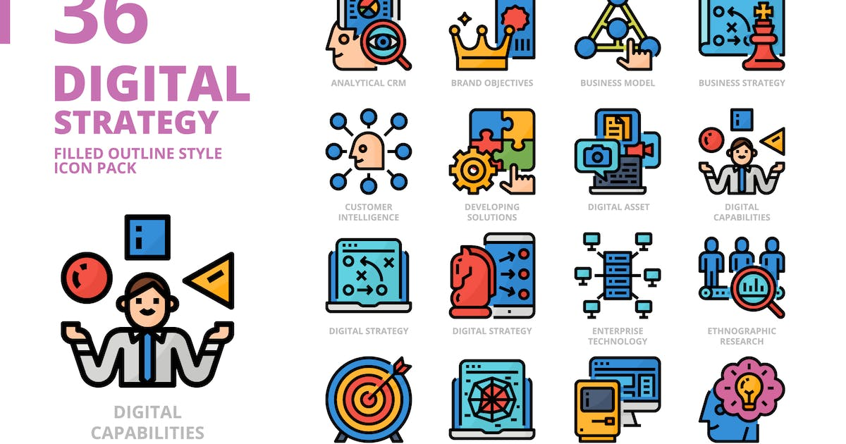 Download Digital Strategy Filled Outline Style Icon Set by monkik