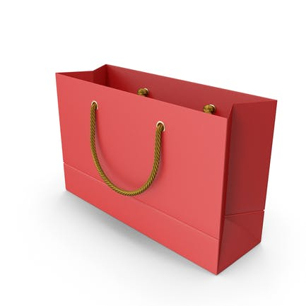 Red Shopping Bag with Gold Handles