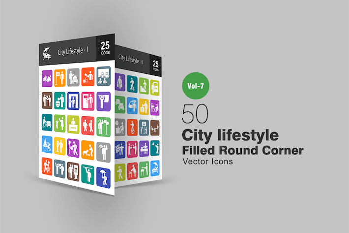 Thumbnail for 50 City Lifestyle Filled Round Corner Icons