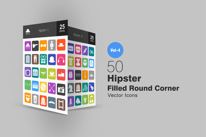 Thumbnail for 50 Hipster Flat Round Corner Icons