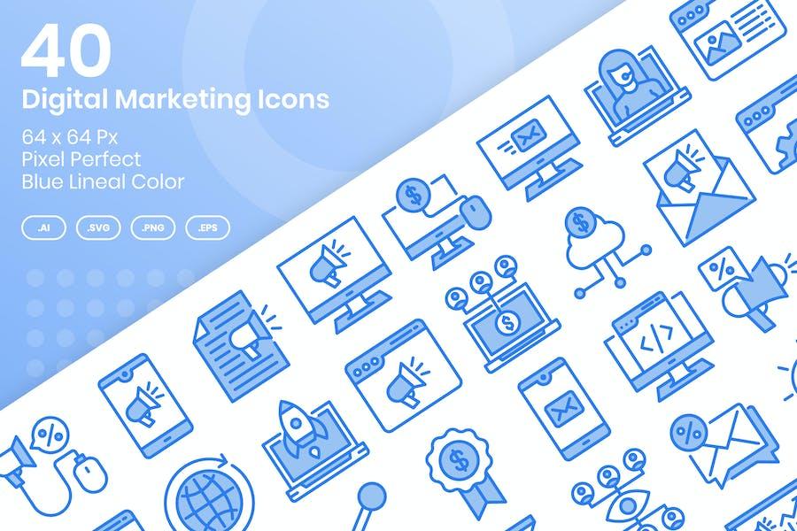 40 Íconos de Marketing Digital - Color Lineal Azul