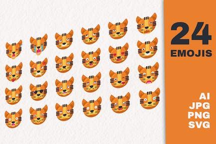 Tiger Cartoon Emoji Set