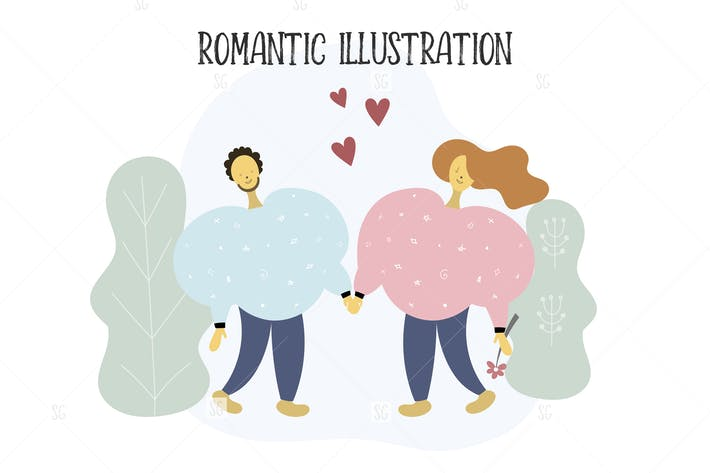 Thumbnail for Valentine's Day Couple Illustration