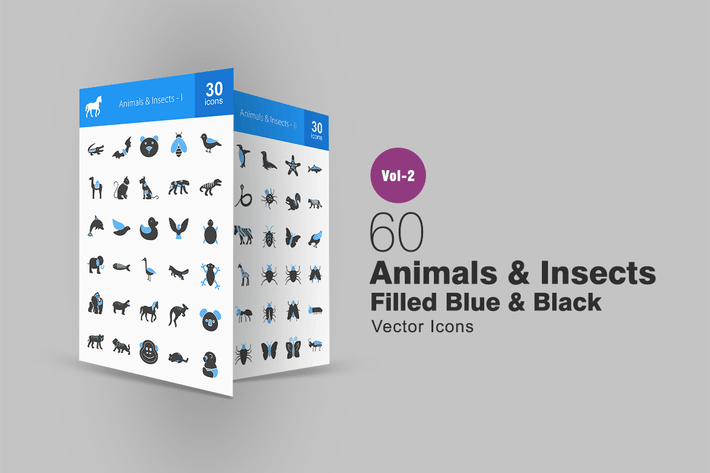Thumbnail for 60 Animals & Insects Blue & Black Icons