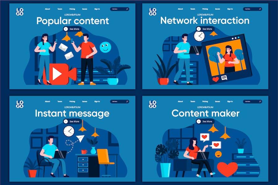 Modèle de page de destination Concept de réseau social plat