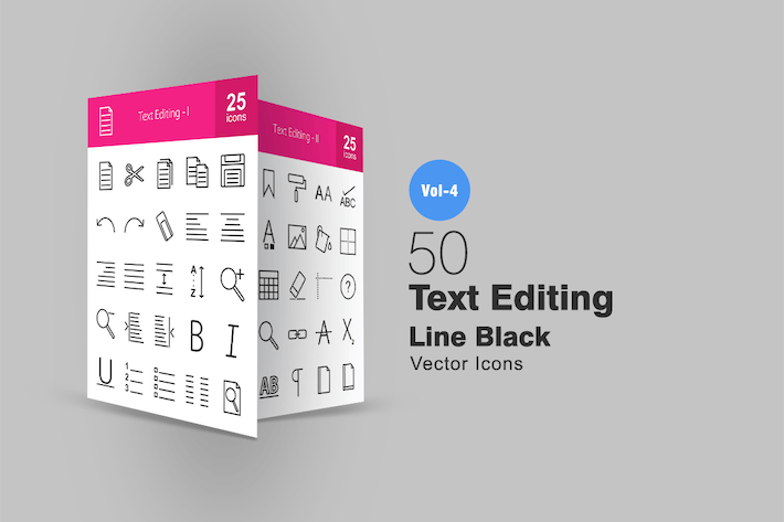 Thumbnail for 50 Text Editing Line Icons