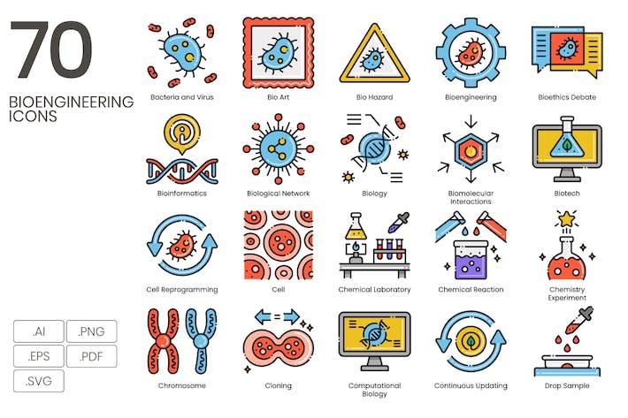 70 Иконки линии биоинженерии