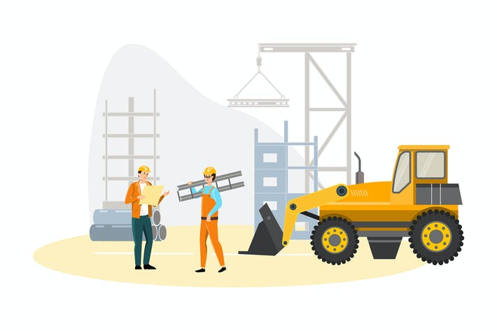 Builders and surveyors during road construction