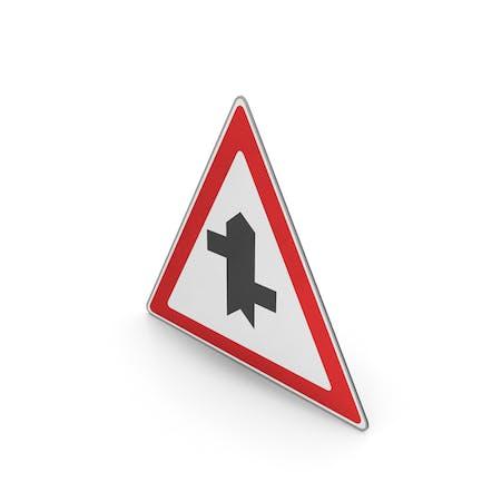 Verkehrszeichen Gestaffelte Kreuzung voraus zuerst rechts