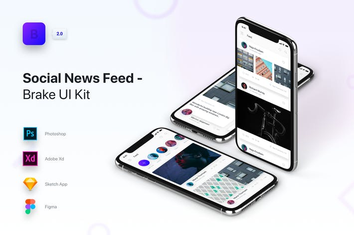 Thumbnail for Brake UI Kit 2.0 - Social Media News Feed