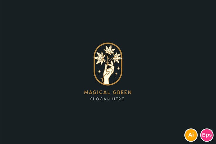 Thumbnail for Magical Green Cannabis Logo Template