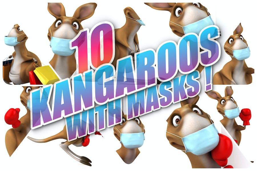 10 Kangaroos with masks !