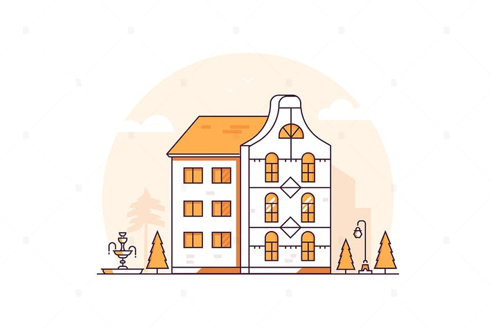 Thumbnail for Apartment house - line design style illustration
