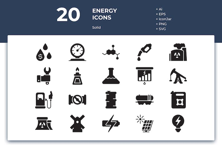 Thumbnail for 20 Energy Icons (Solid)